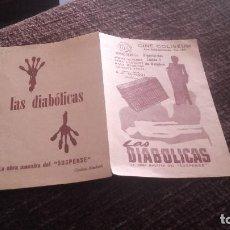 Cine: PROGRAMA DE MANO ORIGINAL DOBLE - LAA DIABOLICAS - CON PUBLICIDAD CINE COLISEUM. Lote 71160693