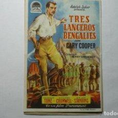 Foglietti di film di film antichi di cinema: PROGRAMA TRES LANCEROS BENGALIES- GARY COOPER -DOBLEZ BB. Lote 71949383