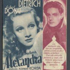 Cine: PROGRAMA LA CONDESA ALEXANDRA 1937 MARLENE DIETRICH, ROBERT DONAT. CON PUBLICIDAD. Lote 71949895