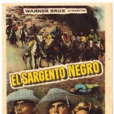 Flyers Publicitaires de films Anciens: EL SARGENTO NEGRO - CINE JARDIN SAN QUINTI MEDIONA 1962. Lote 72184399