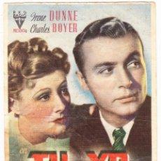 Flyers Publicitaires de films Anciens: TU Y YO - CINE JARDIN SAN QUINTI MEDIONA 1944. Lote 72185315