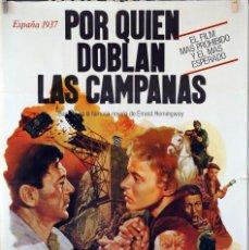 Cine: POR QUIÉN DOBLAN LAS CAMPANAS. GARY COOPER-INGRID BERGMAN. CARTEL ORIGINAL 100X70. Lote 73298643