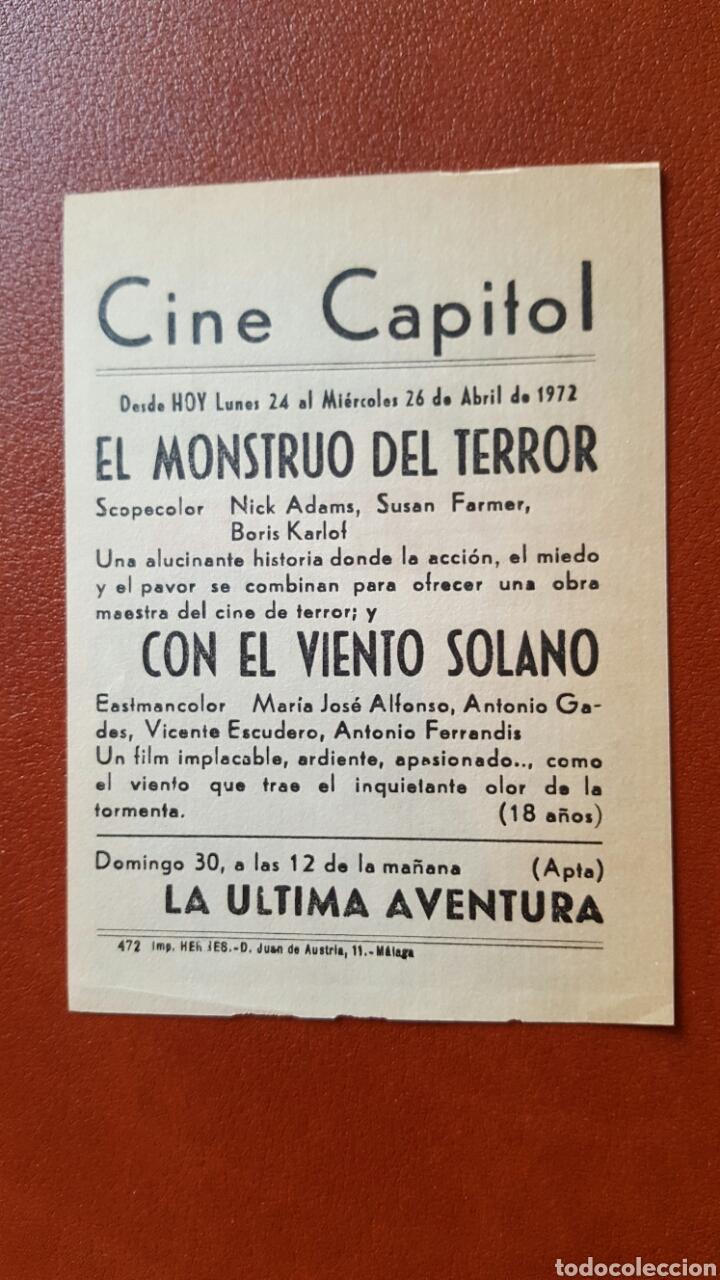 Cine: PROGRAMA O FOLLETO DE MANO DEL CINE CAPITOL. MALAGA - Foto 2 - 73477429