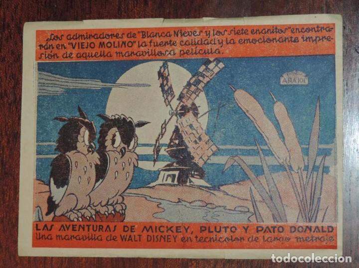 LAS AVENTURAS DE MICKEY PLUTO Y PATO DONALD PROGRAMA SENCILLO ARAJOL WALT DISNEY, CON PUBLICIDAD DEL (Cine - Folletos de Mano - Infantil)