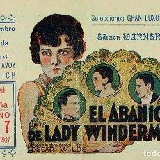 Cine: EL ABANICO DE LADY WINDERMARE. 1925. CINE MUDO. Lote 73582423