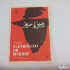 Cine: EL DIABÓLICO DR. MABUSE. 1963. TERROR. SIN PUBLICIDAD. PROGRAMA DE MANO ORIGINAL FOLLETO DE CINE . Lote 74622691
