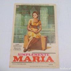 Cine: SIMPLEMENTE MARÍA. SIN PUBLICIDAD. PROGRAMA DE MANO ORIGINAL FOLLETO DE CINE . Lote 74718047