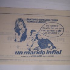 Cine: UN MARIDO INFIEL FRANÇOISE FABIAN FOLLETO DE MANO LOCAL ORIGINAL ESTRENO CON CINE IMPRESO. Lote 75037447