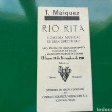Cine: PROGRAMA DE CINE. RÍO RITA. CON PUBLICIDAD. TEATRO MAIQUEZ. CARTAGENA. 1931. Lote 75210749