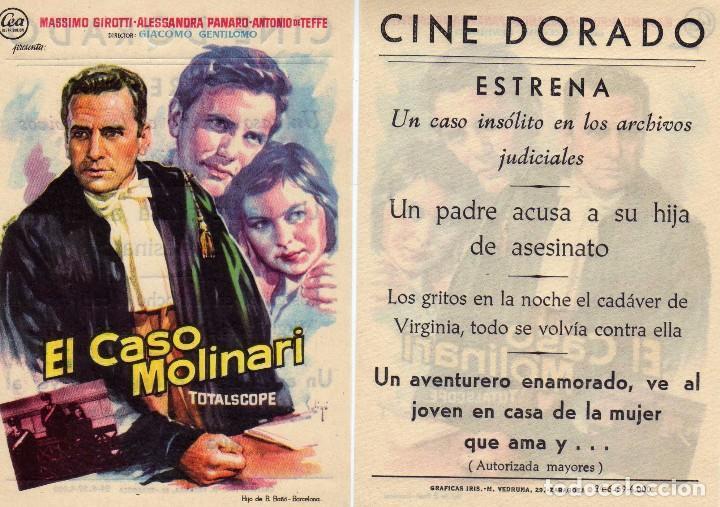 FOLLETO DE MANO EL CASO MOLINARI . CINE DORADO ZARAGOZA (Cine - Folletos de Mano - Drama)