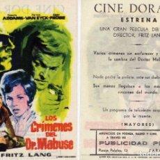 Cine: FOLLETO DE MANO LOS CRIMENES DEL DR. MABUSE DE FRITZ LANG. DORADO ZARAGOZA. Lote 76104391