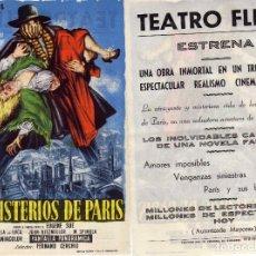 Cine: FOLLETO DE MANO LOS MISTERIOS DE PARIS. TEATRO FLETA ZARAGOZA. Lote 216893466