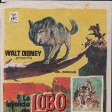 Cine: LA LEYENDA DEL LOBO - PROGRAMA SENCILLO DE WALT DISNEY SIN PUBLICIDAD, RF/PROGRA-1198. Lote 76421275