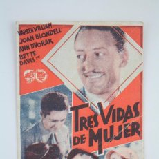 Cine: PROGRAMA DE CINE SENCILLO - TRES VIDAS DE MUJER - WARNER BROS, 1934. Lote 76473363