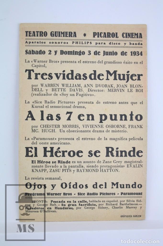 Cine: Programa de Cine Sencillo - Tres Vidas de Mujer - Warner Bros, 1934 - Foto 2 - 76473363