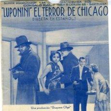 Cine: 'LUPONINI' EL TERROR DE CHICAGO. PROGRAMA DOBLE. REVERSO CINEMA C.A.D.C.I. - U.G.T.. Lote 76640879