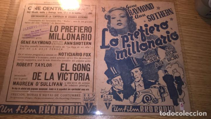 LO PREFIERO MILLONARIO, GENE RAYMOND, ANN SOTHERN. SALUDO A FRANCO, ARRIBA ESPAÑA (Cine - Folletos de Mano - Comedia)