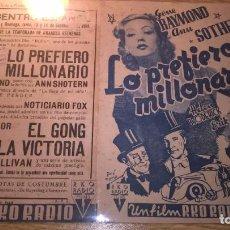 Cine: LO PREFIERO MILLONARIO, GENE RAYMOND, ANN SOTHERN. SALUDO A FRANCO, ARRIBA ESPAÑA. Lote 76746019