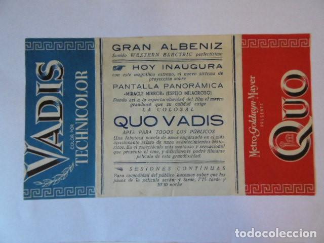 FOLLETO DE MANO QUO VADIS, , CINE ALBANIZ. (Cine - Folletos de Mano - Bélicas)