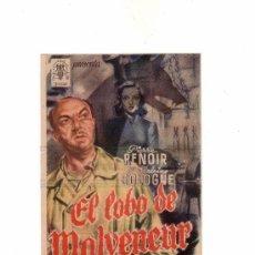Cine: -16998 PROSPECTO DE CINE PELICULA EL LOBO DE MALVENEUR, AÑO 1950, CON PUBLICIDAD . Lote 77145805