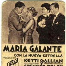 Cine: MARIA GALANTE. PROGRAMA SENCILLO. CARTULINA. REVERSO CLAVÉ PALACE DE MATARÓ.. Lote 77448257