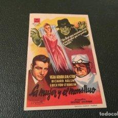 Cine: PROGRAMA DE CINE ORIGINAL - LA MUJER Y EL MONSTRUO ( CON PUBLICIDAD ) 1947. Lote 77465293