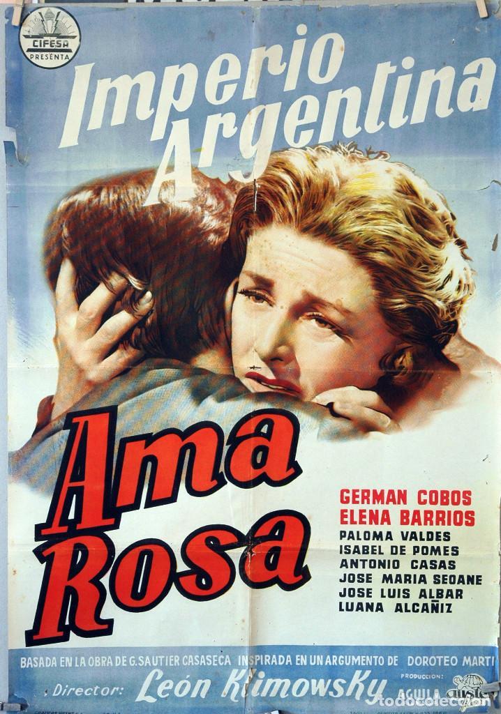AMA ROSA. IMPERIO ARGENTINA-GERMÁN COBOS. CARTEL ORIGINAL 1960. 70X100 (Cine - Folletos de Mano - Clásico Español)