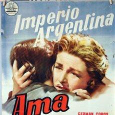 Cine: AMA ROSA. IMPERIO ARGENTINA-GERMÁN COBOS. CARTEL ORIGINAL 1960. 70X100. Lote 77545637