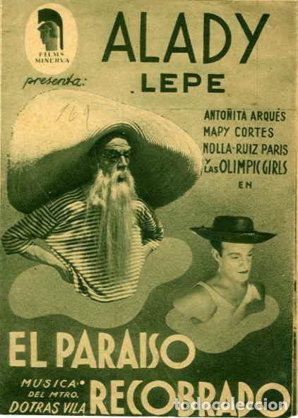 EL PARAISO RECOBRADO. PROGRAMA DOBLE. REVERSO SIN IMPRIMIR CINE (Cine - Folletos de Mano - Comedia)
