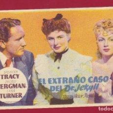 Cine: PROGRAMA DE MANO - EL EXTRAÑO CASO DEL DR. JEKYLL - SPENCER TRACY - INGRID BERGMAN - LANA TURNER. Lote 77750161