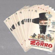 Folhetos de mão de filmes antigos de cinema: LOTE DE 50 PROGRAMAS DE CINE IGUALES. LA VENGANZA DEL ZORRO. 10 X 15CM . Lote 78119877