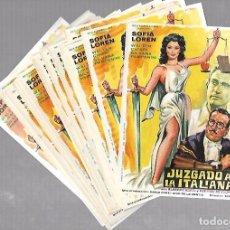 Cine: LOTE DE 50 PROGRAMAS DE CINE IGUALES. JUZGADO A LA ITALIANA. SOFIA LOREN. 11 X 16CM . Lote 78120589