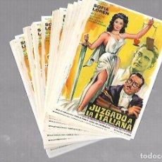 Folhetos de mão de filmes antigos de cinema: LOTE DE 50 PROGRAMAS DE CINE IGUALES. JUZGADO A LA ITALIANA. SOFIA LOREN. 11 X 16CM . Lote 78120693