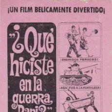 Cine: ¿QUÉ HICISTE EN LA GUERRA, PAPI? (CON PUBLICIDAD). Lote 78655341