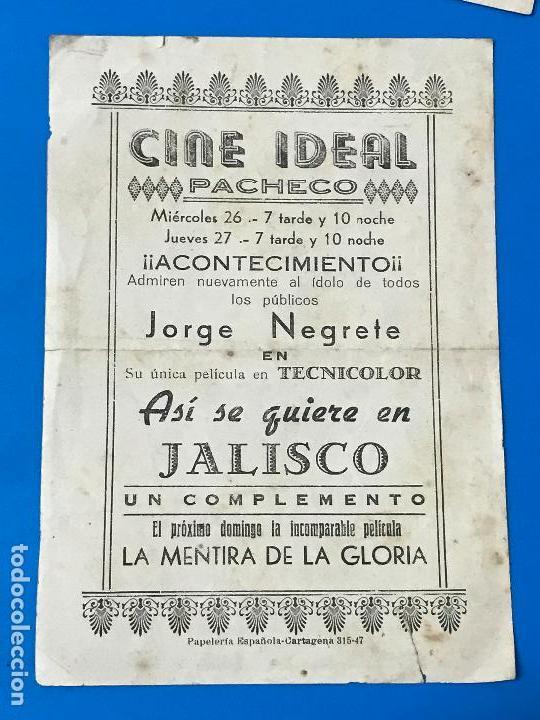 Cine: FOLLETO DE MANO ASI SE QUIERE EN JALISCO , JORGE NEGRETE.cine ideal torre pacheco - Foto 2 - 79147205