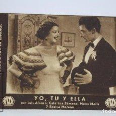 Cine: PROGRAMA DE CINE / TARJETA FOTOGRAMA - YO, TÚ Y ELLA - FOX, 1934. Lote 79762889