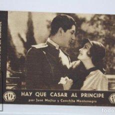 Cine: PROGRAMA DE CINE / TARJETA FOTOGRAMA - HAY QUE CASAR AL PRÍNCIPE - CONCHITA MONTENEGRO -FOX, AÑOS 30. Lote 79763269
