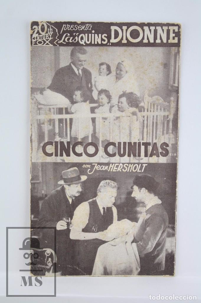PROGRAMA DE CINE / TARJETA FOTOGRAMA - CINCO CUNITAS - 20TH CENTURY FOX, 1936 (Cine - Folletos de Mano - Comedia)