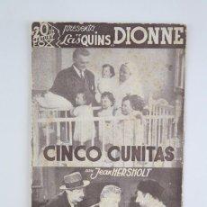 Cine: PROGRAMA DE CINE / TARJETA FOTOGRAMA - CINCO CUNITAS - 20TH CENTURY FOX, 1936. Lote 79766857