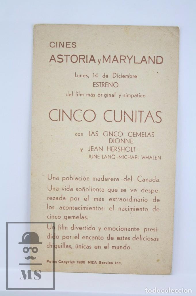 Cine: Programa de Cine / Tarjeta Fotograma - Cinco Cunitas - 20th Century Fox, 1936 - Foto 2 - 79766857