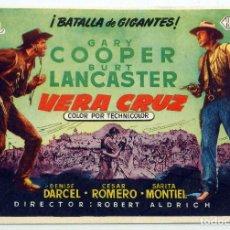 Cine: VERACRUZ PROGRAMA MANO SENCILLO GARY COOPER BURT LANCASTER SARITA MONTIEL SIN PUBLIDAD CINE. Lote 80104813