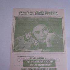 Cine: LA PRIMERA NOCHE DE LA QUIETUD ALAIN DELON FOLLETO DE MANO LOCAL ORIGINAL CON CINE IMPRESO. Lote 80285181