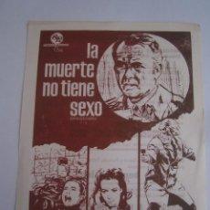 Cine: LA MUERTE NO TIENE SEXO LUCIANA PALUZZI FOLLETO DE MANO LOCAL ORIGINAL CON CINE IMPRESO. Lote 80285281