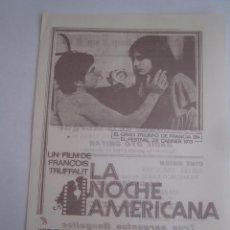 Cine: LA NOCHE AMERICANA FRANÇOIS TRUFFAUT FOLLETO DE MANO LOCAL ORIGINAL CON CINE IMPRESO. Lote 80285401