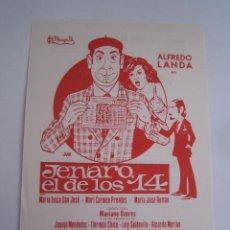 Cine: JENARO EL DE LOS 14 FUTBOL ALFREDO LANDA JAIME DE MORA FOLLETO MANO LOCAL ORIGINAL CON CINE IMPRESO. Lote 194870781