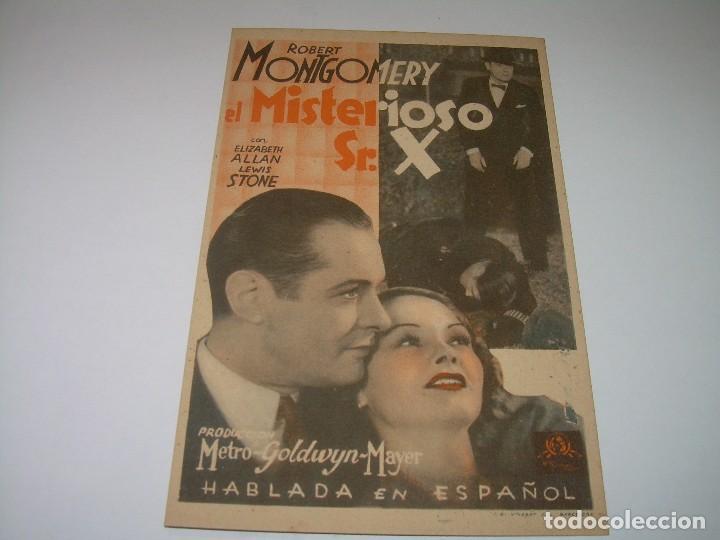 PROGRAMA DE CINE....EL MISTERIOSO SR. X. (Cine - Folletos de Mano - Acción)