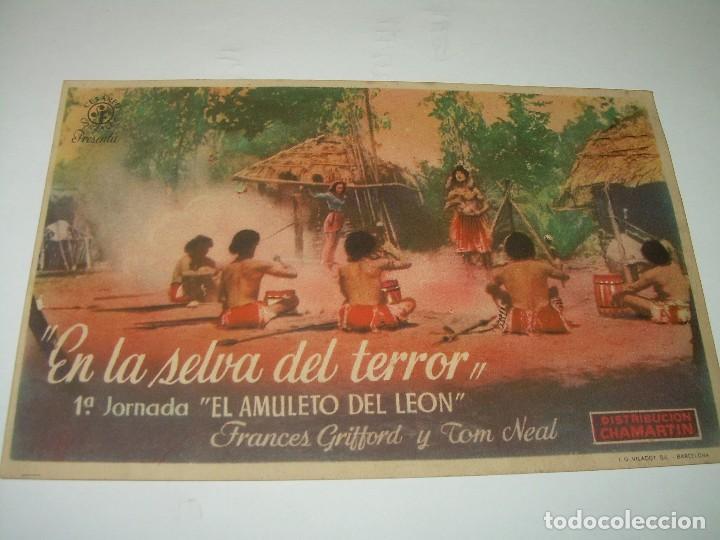 PROGRAMA DE CINE...EN LA SELVA DEL TERROR. (Cine - Folletos de Mano - Terror)