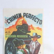 Flyers Publicitaires de films Anciens: PROGRAMA EL CRIMEN PERFECTO, CINE PERELLO, 1948, MELILLA. Lote 80525241