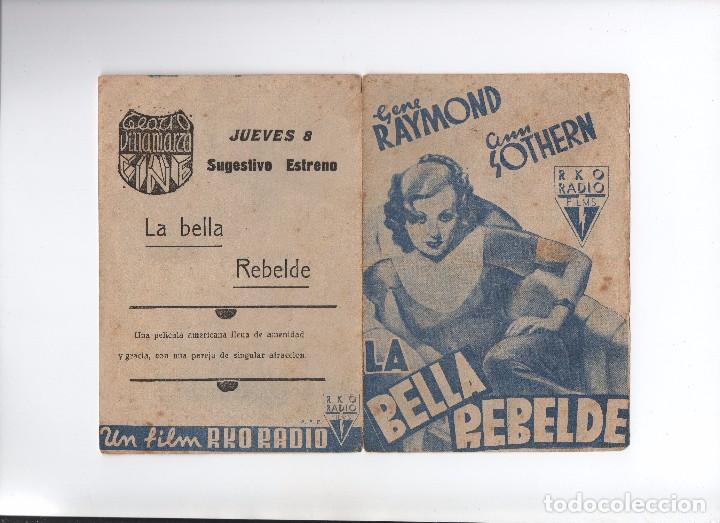 PROGRAMA DOBLE DE LOS 30 LA BELLA REBELDE GENE RAYMOND (Cine - Folletos de Mano - Comedia)