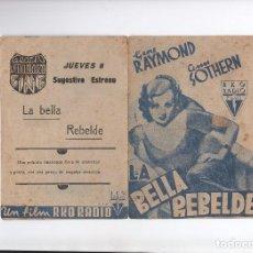 Cine: PROGRAMA DOBLE DE LOS 30 LA BELLA REBELDE GENE RAYMOND. Lote 80571886